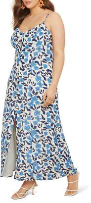ELOQUII Floral Button Up Maxi Dress