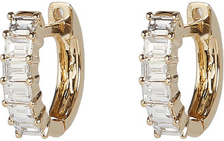Ef Collection Diamond Baguette Huggie Hoop Earrings