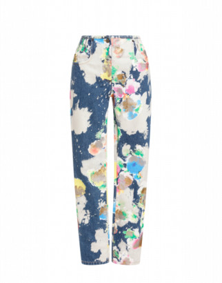 Moschino Painted And Bleached Flowers Denim Trousers Woman Multicoloured Size 38 It - (4 Us)