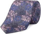 Alexandre of England Allum Silver Pink Floral Tie