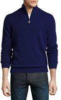 Neiman Marcus Cashmere Half-Zip Sweater, Deep Blue