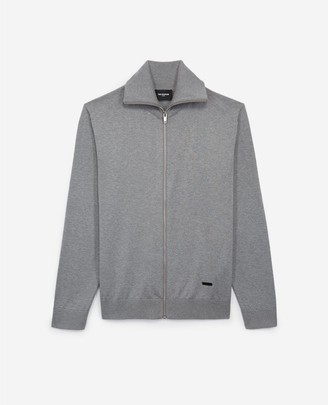The Kooples Grey cardigan in cotton and silk with leather
