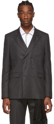 Random Identities Grey Wool Double-Breasted Blazer