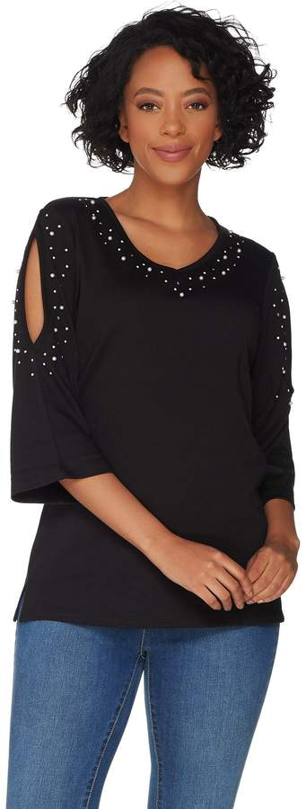 Factory Quacker Pearl and Shine V-Neck Split Sleeve Knit T-shirt
