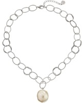 Majorica Baroque Pearl Hammered Pendant Necklace