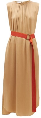 Carl Kapp - Oriole Gathered-neck Hammered-silk Dress - Gold