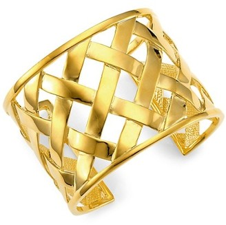 Kenneth Jay Lane 22K Polished Goldplated Basketweave Cuff Bracelet