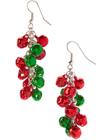 Carole Red & Green Jingle Bell Cluster Drop Earrings