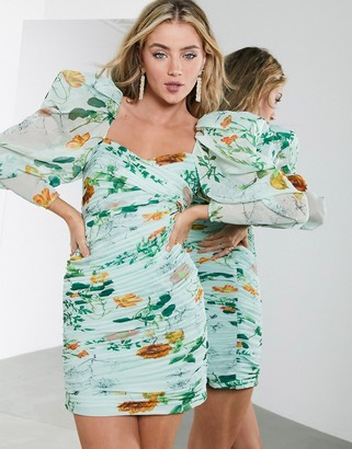 ASOS EDITION ruched mini dress with puff sleeves in green floral print