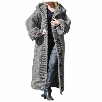 Tuduz Coat Women Hooded Cardigan Coat TUDUZ Ladies Winter Solid Long Open Front Knitted Sweater Outerwear Thick Warm Hoody Knitwear Jackets(Gray XL)