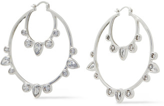 Noir Silver-tone Crystal Hoop Earrings