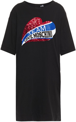 Love Moschino Sequin-embellished Printed Cotton-jersey Mini Dress