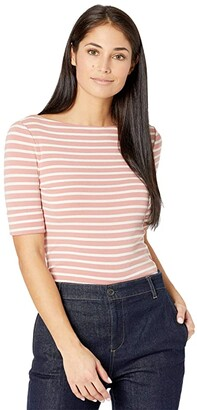 Lauren Ralph Lauren Petite Striped Cotton Blend Top (Mosaic Pink/Mascarpone Cream) Women's Clothing