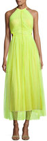 Jason Wu Twisted-Back Shadow Floral Midi Dress, Neon Yellow