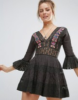 Free People Antiquity Lace Inserts Mini Dress
