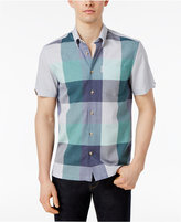 Ben Sherman Men's Textured Classic Fit Plaid-Front/Solid-Back Shirt