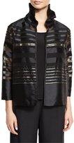 Caroline Rose Striped Organza Bracelet-Sleeve Jacket, Plus Size