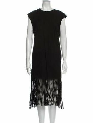 Muu Baa Goat Leather Midi Length Dress Black