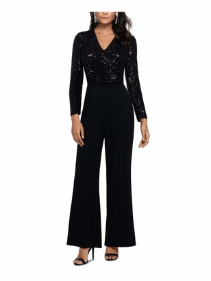 Xscape Evenings Womens Black Embellished Long Sleeve V Neck Cocktail Jumpsuit UK Size:18
