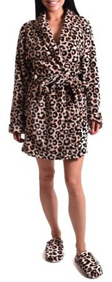 Body Candy Women's Leopard Luxe Plush Robe and Slipper Set
