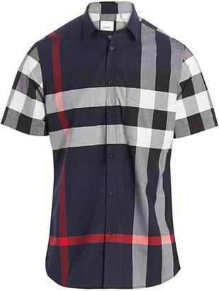 Burberry Somerton Plaid Short Sleeve Sport Shirt