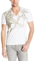 Just Cavalli Men's White and Gold Ropes Compass Tee