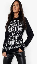 Boohoo Eva Merry Christmas Ya Filthy Animal Jumper