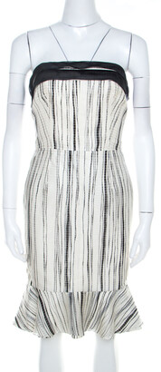 Carolina Herrera Monochrome Irregular Striped Silk Strapless Flounce Dress S