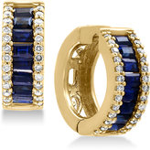 Effy Royalé Bleu Sapphire (1-1/2 ct. t.w.) and Diamond (3/8 ct. t.w.) Hoop Earrings in 14k Gold