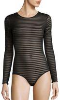Hanky Panky Shadow Stripe Long-Sleeve Bodysuit