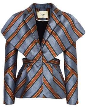 Fendi Cape-effect Cutout Striped Jacquard Jacket