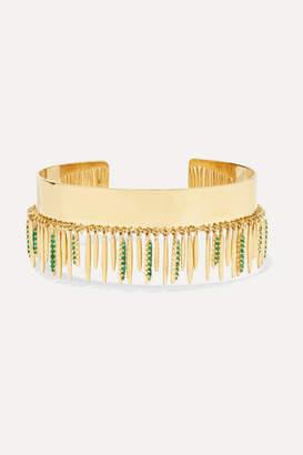 Ileana Makri Grass Leaves 18-karat Gold Emerald Cuff - one size