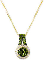 LeVian Le Vian Exotics® White and Green Diamond Necklace (5/8 ct. t.w.) in 14k Gold