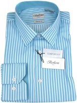 Berlioni Aqua White Mens 100% Cotton Comfort Fit Stripe Dress Shirt