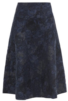 Erdem Nymphea Cotton-blend Floral-jacquard Midi Skirt - Navy