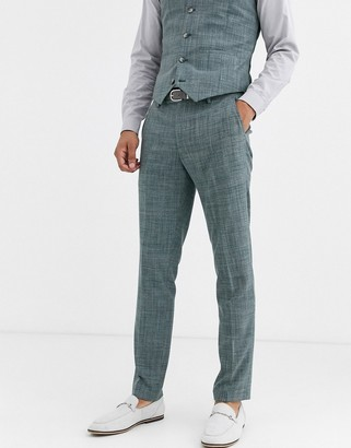 ASOS DESIGN wedding skinny suit pants in pine green crosshatch