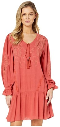 Miss Me Embroidered Lace Trumpet Sleeve Dress (Brick Red) Women's Dress