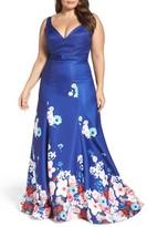 Mac Duggal Plus Size Women's Floral A-Line Ballgown