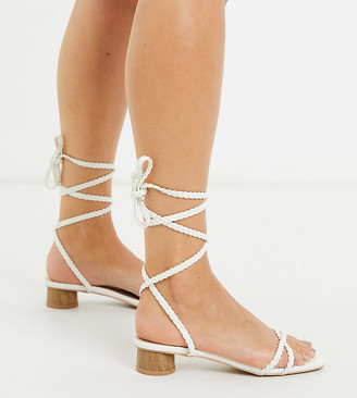 Raid Wide Fit Felicity heeled sandals in white plait