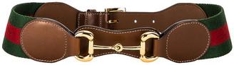Gucci Ribbon Belt in Brown Sugar & Green   FWRD