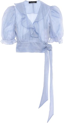 Rokh Ruffled Striped Organza Wrap Blouse