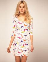 'Zakee Shariff' Jersey Body-Conscious Dress In Bird Print