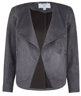 Dorothy Perkins Womens Dp Petite Grey Suedette Waterfall Jacket, Grey