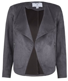 Dorothy Perkins Womens Dp Petite Grey Suedette Waterfall Jacket, Grey