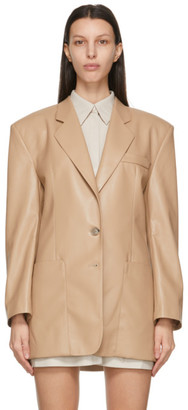 Nanushka Beige Vegan Leather Evan Blazer