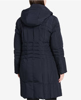 Calvin Klein Plus Size Hooded Layered Down Coat