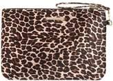 Dorothy Perkins Leopard Velvet Wristlet Clutch Bag