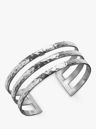 Dower & Hall Sterling Silver Triple Cuff, Silver, 25mm