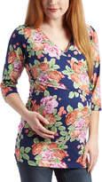 Glam Navy & Orange Floral Maternity V-Neck Tunic