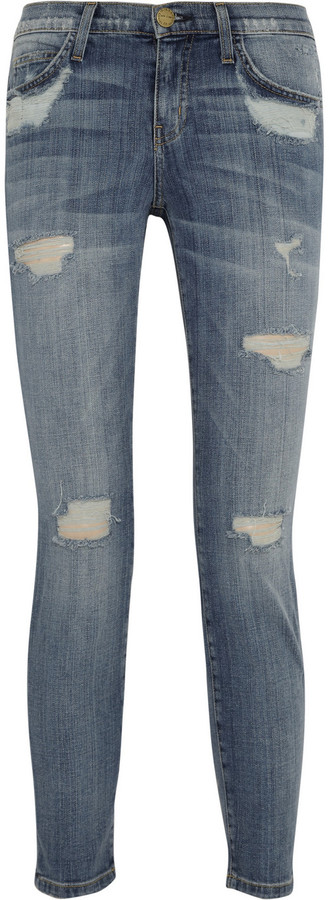 Current/Elliott The Stiletto cropped distressed mid-rise slim-fit jeans